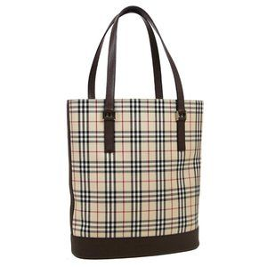 BURBERRY Check Hand Tote Bag Purse Beige Brown